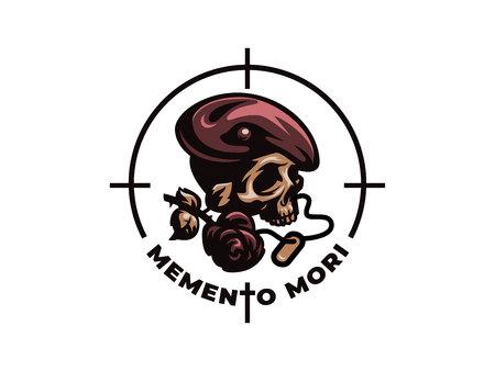 Skull with rose and war tag. Patriotic, military, biker badge. Vector illustration.