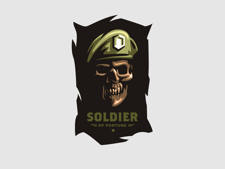 Skull in beret. Patriotic, military, biker badge. Vector illustration.