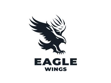Greifvogel, Adler oder Falke mit ausgebreiteten Flügeln und Sonne. Vektor-Illustration.