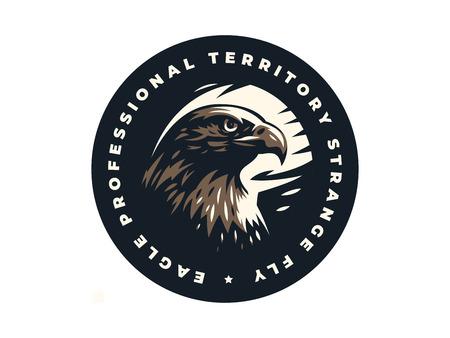 Tête d'oiseau de proie, d'aigle ou de faucon avec. Illustration vectorielle.