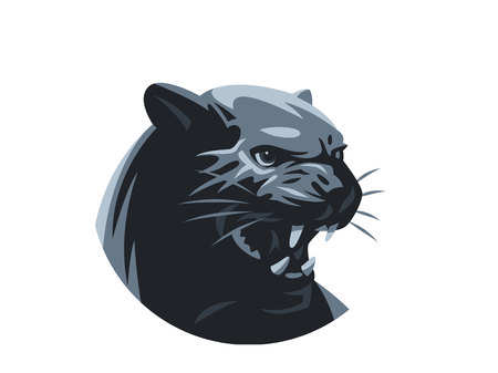 The panther or leopard is grinning. Fangs Vector illustration.
