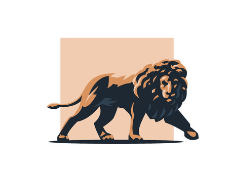 Leo with a big mane coming. Vector illustration.