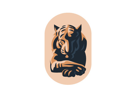 Big tiger lies with closed eyes. Vector illustration Illustration