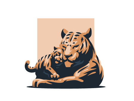 A tigress with her tiger cub. Vector illustration.