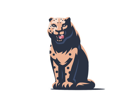 The snow leopard sits on its hind legs and licks. Vector illustration.