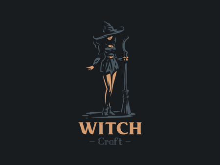 Sorceress woman witch with a magic broom in hand and wearing a hat, conjures. Vector illustration.