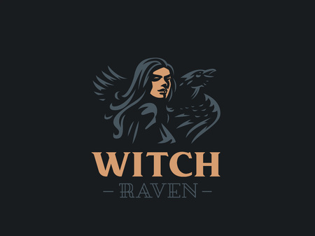 Woman Witch with flowing hair and a raven on her shoulder. Vector illustration.