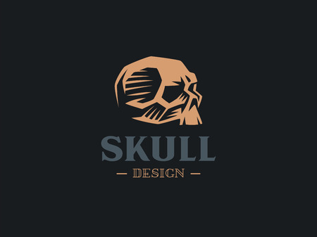 A human skull without a lower jaw lies on the surface. Vector illustration.