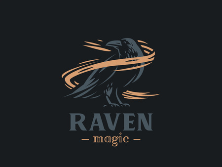 The raven sits on its paws and turns around. Vector illustration