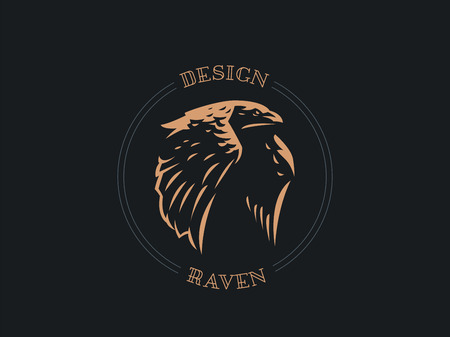 The raven flaps its big wings and flies. Vector illustration.