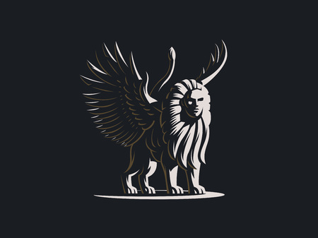 Sphinx. The mythical creature with the body of a lion and the head of a man and the wings of a bird.