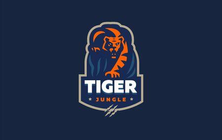 La imagen de un tigre en estilo minimalista. Ilustración vectorial Ilustración de vector