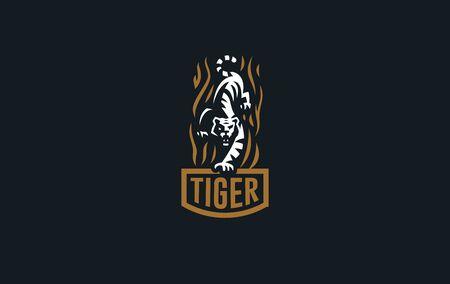 La imagen de un tigre en estilo minimalista. Ilustración vectorial