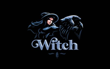The witch in the witch's hat in the hands of a raven. Vector illustration.