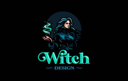 Witch gypsy with flowing hair. In her hands is a magical fire. Vector illustration.
