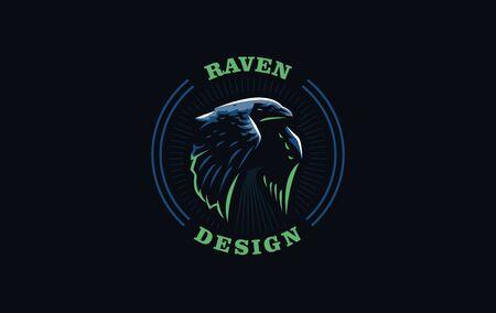 Flying crow or raven bird in minimalist style. Vector illustration.