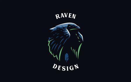 Flying crow or raven bird in minimalist style. Vector illustration. Illustration