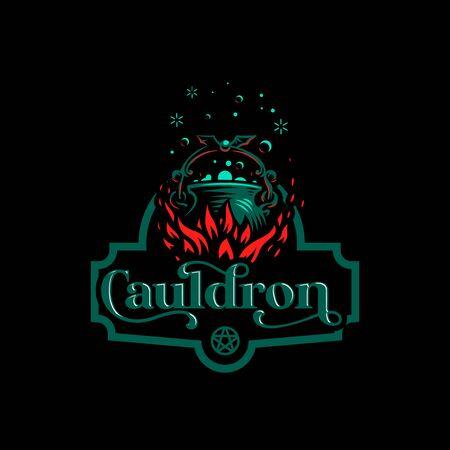 Magic cauldron with a bat handle. Flames of fire and shining magical liquid. Stock Illustratie