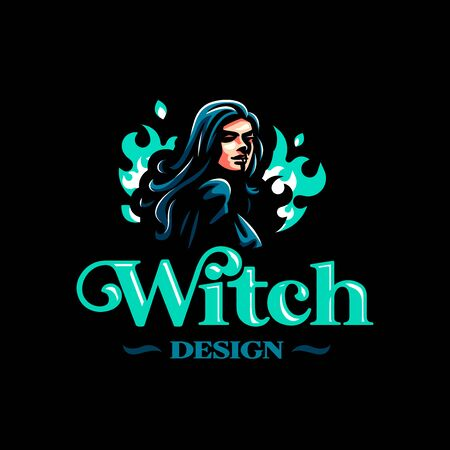 A female witch or, with a magical fire behind her. Vector illustration Illustration
