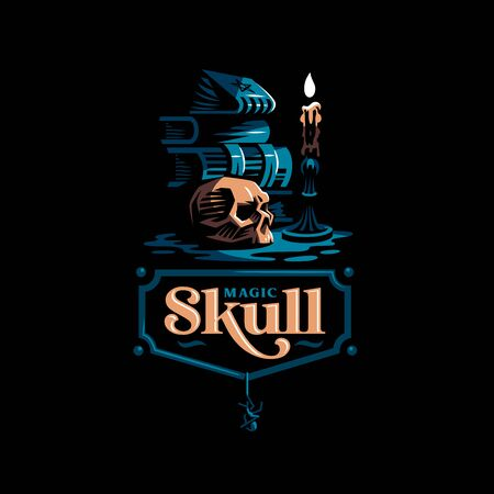 Human skull in a minimalistic style. Ancient magic books, a burning candle in a candlestick. Vector illustration. Illustration
