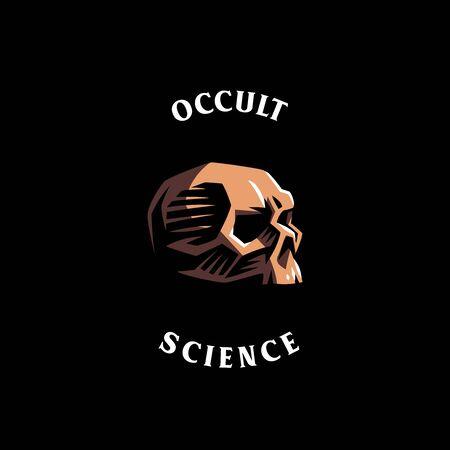 Human skull in a minimalistic style. Vector illustration.