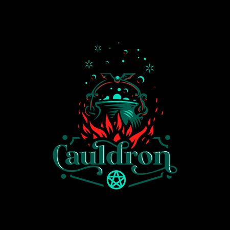 Magic cauldron with a bat handle. Flames of fire and shining magical liquid. Illustration