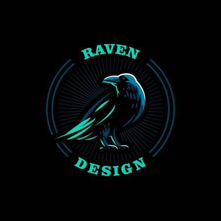 A raven is standing with its wings folded. Vector illustration. 일러스트