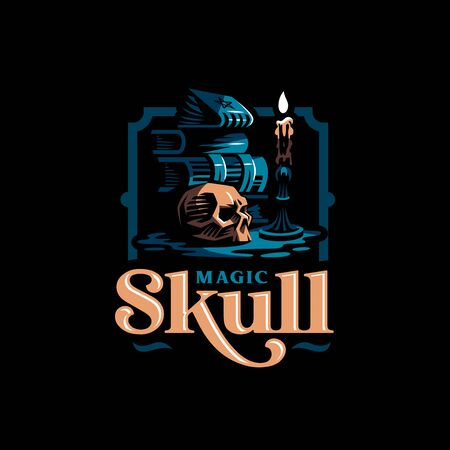 Human skull in a minimalistic style. Ancient magic books, a burning candle in a candlestick. Vector illustration. Banco de Imagens - 128587796