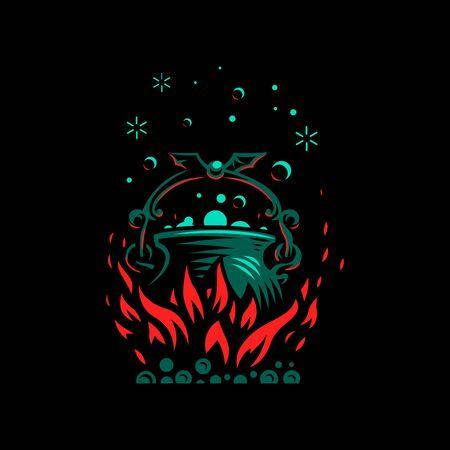 Magic cauldron with a bat handle. Flames of fire and shining magical liquid. Banco de Imagens - 128587801