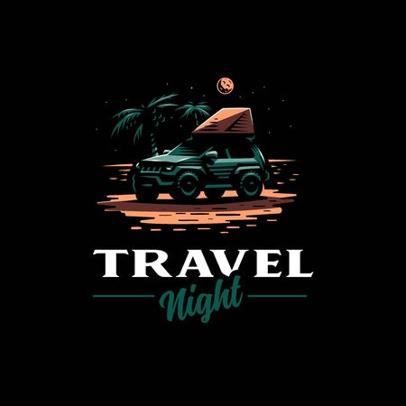 Off-road car stands on the night beach. Tent on the roof. The moon is shining, near palm trees.