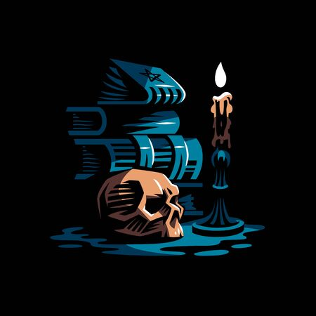 Human skull in a minimalistic style. Ancient magic books, a burning candle in a candlestick. Vector illustration. Banco de Imagens - 128587806
