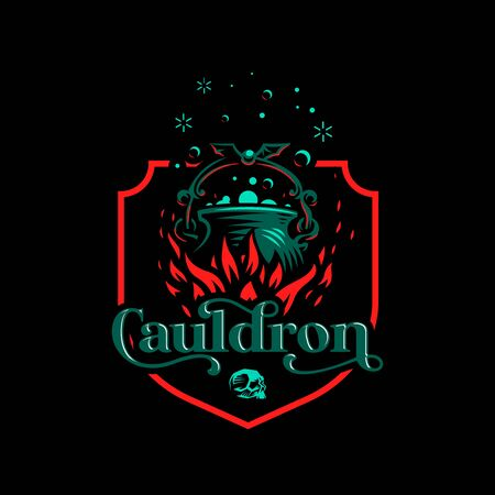 Magic cauldron with a bat handle. Flames of fire and shining magical liquid. Ilustração