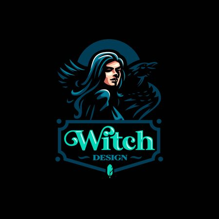 A female witch or, with a raven on her shoulders. Vector illustration