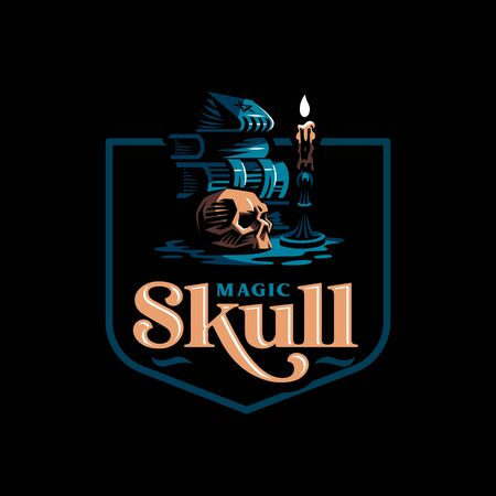 Human skull in a minimalistic style. Ancient magic books, a burning candle in a candlestick. Vector illustration. Иллюстрация