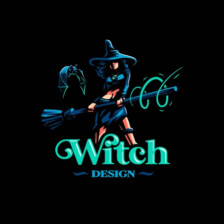 Woman witch with a magic broom conjures. Vector. Иллюстрация