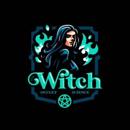 A female witch or, with a magical fire behind her. Vector illustration Иллюстрация