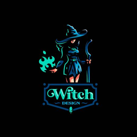 Woman witch with a magic broom in one hand and a magic flame in the other hand, conjures.