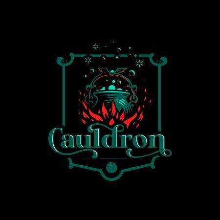 Magic cauldron with a bat handle. Flames of fire and shining magical liquid. Illustration