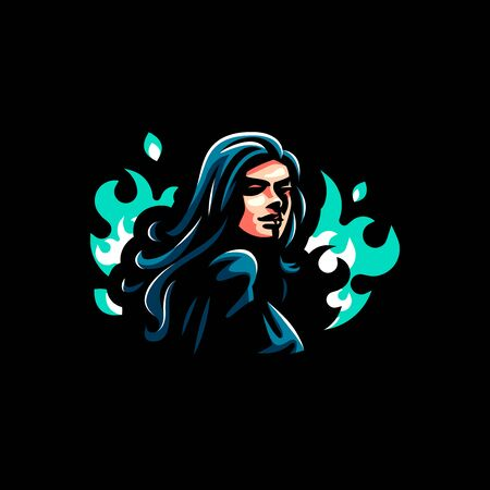 A female witch or, with a magical fire behind her. Vector illustration Banco de Imagens - 128588124