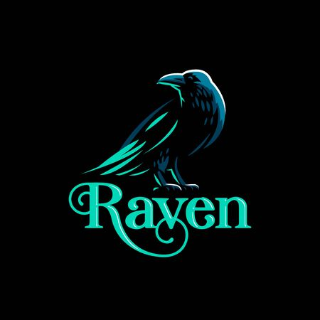 A raven is standing with its wings folded. Vector illustration. Illustration