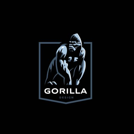 Gorilla. Big monkey. Vector illustration.