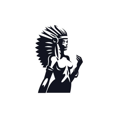 A Native American woman.  Vector illustration.