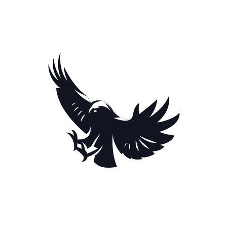 Aquila tuffatrice con le ali alzate.