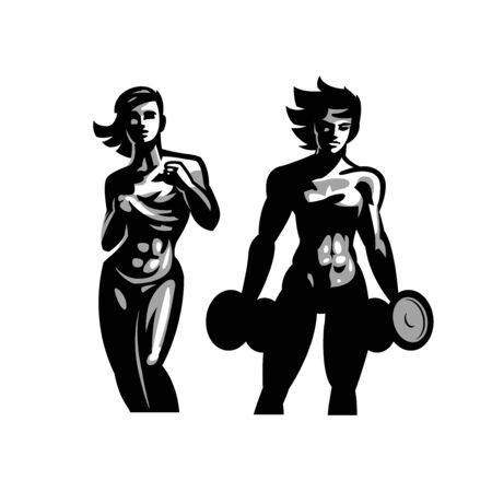Fitness. Muscular athletic woman. With dumbbell in hand. Shows a abs on the stomach.