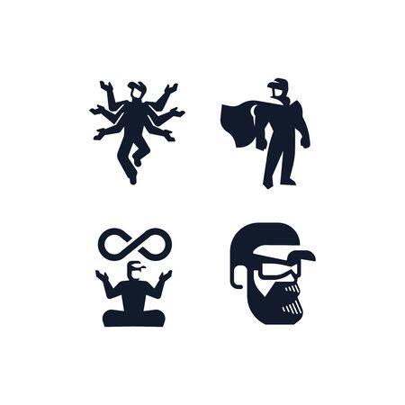 Male technician, repairman, plumber in a cap. Vector illustration, logo.