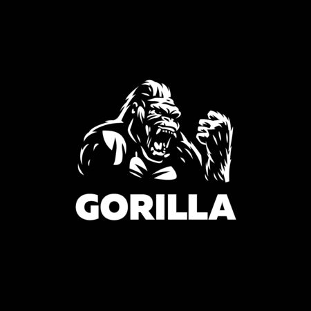 Head of an angry gorilla. Gorilla opened her mouth. Set of Vector illustrations.