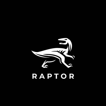 The dinosaur, the raptor, is running. Jurassic period, minimalistic style. Vector illustration.