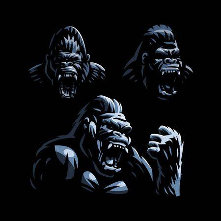 Tête d'un gorille en colère. Gorilla ouvrit la bouche. Ensemble d'illustrations vectorielles.