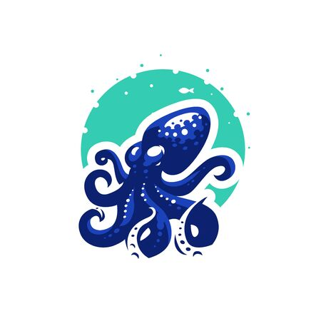 Sea octopus at the bottom of the sea. Vector illustration.