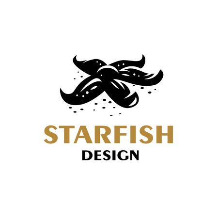 Starfish lies at the bottom of the sea. Vector illustration. Ilustração